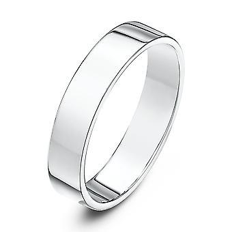 Bague de mariage alliances Star 18 carats or blanc lourd Flat Cour forme 4mm