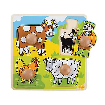 Bigjigs Toys Chunky Wooden My First Peg Jigsaw Puzzle (Farm)