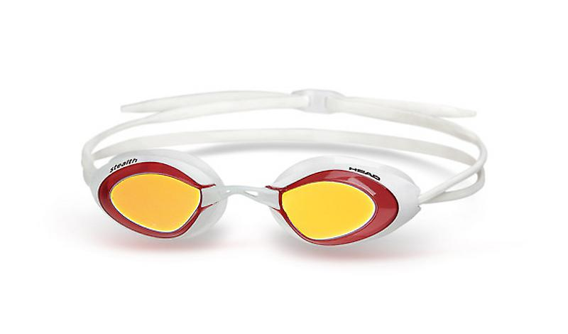 Head Stealth Swimming Goggle - Mirrored Lenses - White/Red