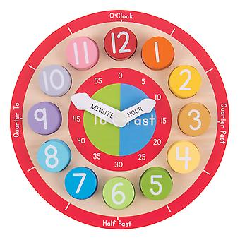 Bigjigs Toys Wooden Educational Teaching Clock Tell The Time Numbers Learn
