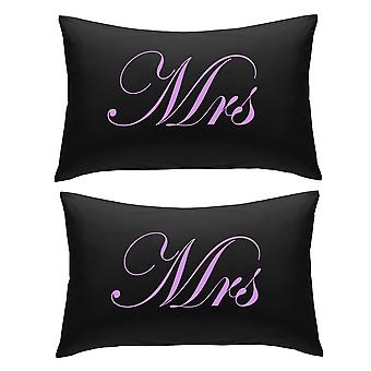 Black with Lilac Mrs and Mrs Pillowcases