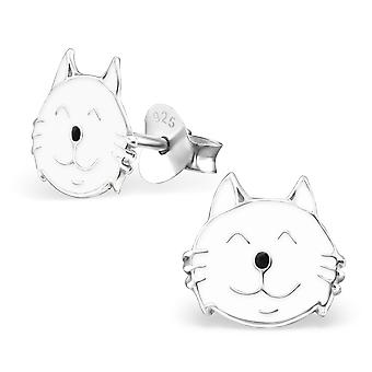 Cat - 925 Sterling Silver Colourful Ear Studs - W13006X