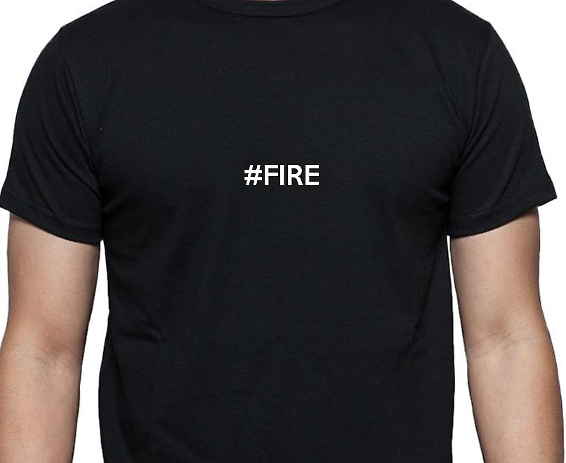 #Fire Hashag Fire Black Hand Printed T shirt