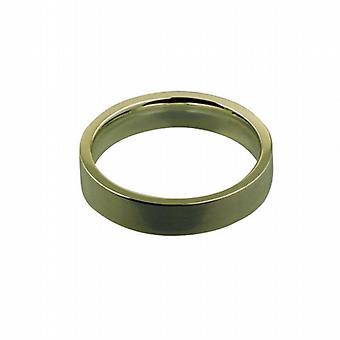 9ct Gold 4mm plain flat Court shaped Wedding Ring Size I