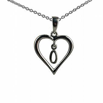Zilveren 18x18mm eerste O in een hart hanger met een rolo ketting 14 inch alleen geschikt voor kinderen
