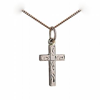 9ct Rose Gold 17x10mm hand engraved solid block Cross with a curb Chain 24 inches