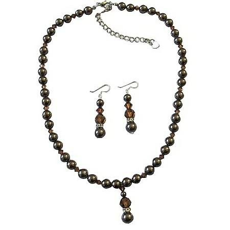 Brown Chocolate Pearl Smoked Topaz Crystal Handcrafted Wedding Jewelry