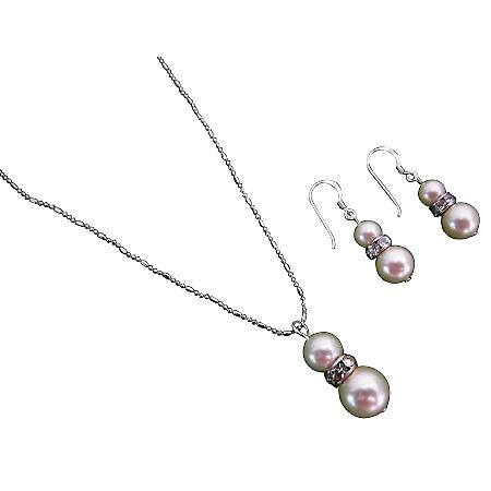 Breathtaking Splendorous Ivory Pearls Necklace Earrings Set