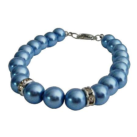 Wedding Gift Jewelry Collection Blue Pearls Bracelet Bridesmaid Gift