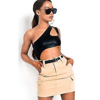 IKRUSH Womens Nova Cut Out Wetlook Bodysuit