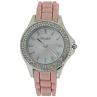 Henley Ladies Mother Of Pearl Dial RoseTone Bezel Pink Rubber Strap Watch H06068