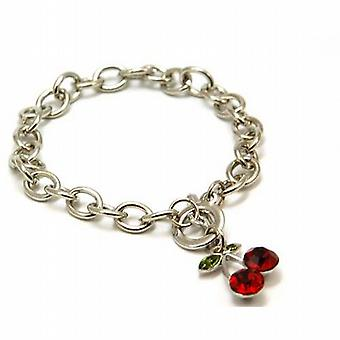 The Olivia Collection Silvertone Red Rhinestones Cherries T-Bar 8 Inch Bracelet