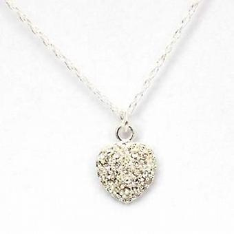 Toc Sterling Silver Cubic Zirconia Heart Pendant on an 18 Inch Chain