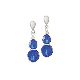 Eternal Collection Echo Majestic Blue Austrian Crystal Silver Tone Drop Pierced Earrings
