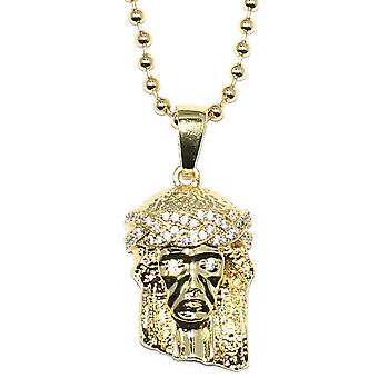 Micro Jesus Piece Pendant 18k Gold Plated with 30 inch Ball chain Necklace