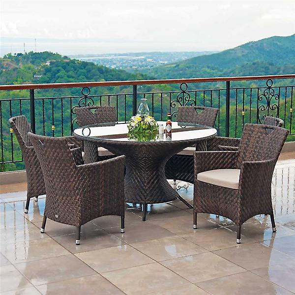 Alexander Rose Ocean Wave 6 Seat Round Garden Furniture Set