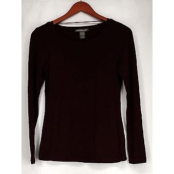 Kate & Mallory Top Long Sleeve Scoop Neck Tunic Wine Red Womens A411887