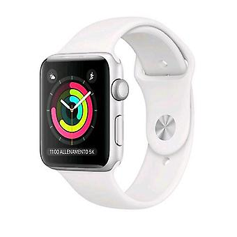 Apple watch series 3 gps case 38mm aluminum silver with sport strap white