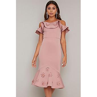 3D bloemen Frill detail Bodycon jurk