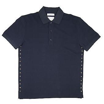 Valentino Rock Stud Polo Shirt Navy Blue