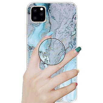 Capa protetora para Apple iPhone 11 6,1 polegadas prata azul 3D mármore TPU caso de silicone