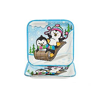 8 Penguin Party Square Paper Plates for Christmas | Christmas Party Tableware