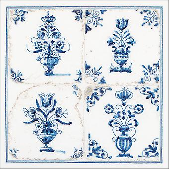 Antique Tiles, Floral Vases On Aida Counted Cross Stitch Kit-11