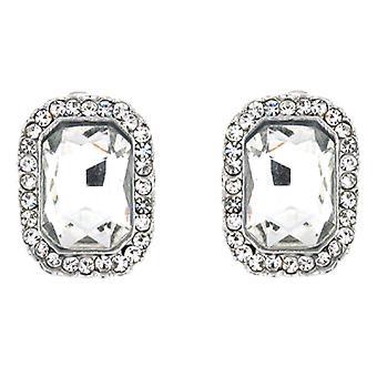 Clip On Earrings Store Silver & duidelijke Crystal Octagon Clip op oorbellen