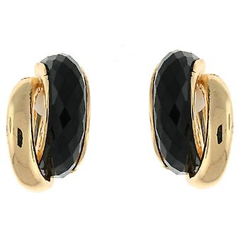 Clip On Earrings Store Gold & Black Faceted Stone Double Semi Hoop Clip On Earrings