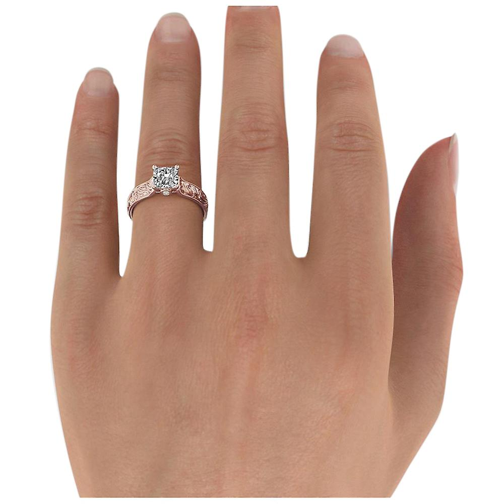 1.61 Carat F SI2 Diamond Engagement Ring 14K Rose Gold Solitaire w Accents Filigree Cathedral