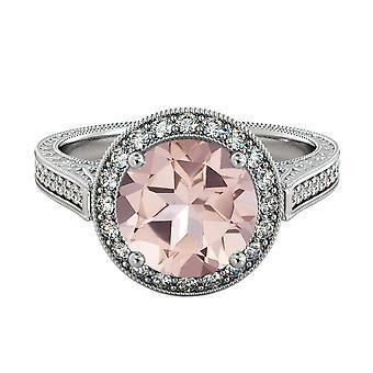 14K hvitt gull 2,60 CTW naturlige fersken/rosa VS Morganite Ring med diamanter Halo filigran