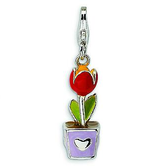 Sterling Silver 3-D Red Enamel Potted Tulip Flower With Lobster Clasp Charm - Measures 31x7mm