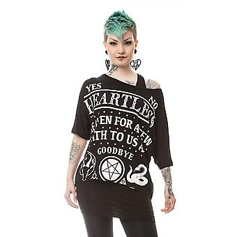 Heartless Death To All Womens Black Viscose Top Tshirt Ouija Occult Goodbye