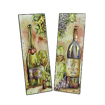 2 Pc. Red and White Wine Foiled Watercolor Wall Print Set