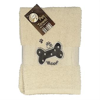 Country Club Pet Towel 60x120cm Cream Woof