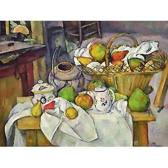 Stilleben med kurv Poster trykk av Paul Cézanne