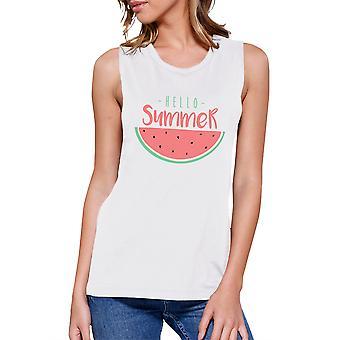 Witam damska lato arbuz biały graficzny mięśni Tee na lato