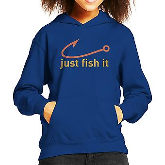 Just Fish It Nike Logo Yellow Kid's Hooded Sweatshirt