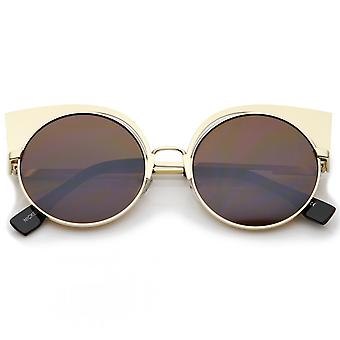 Women's Metal Frame Cutout Round Cat Eye Sunglasses 54mm