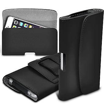 Quarice n900 Horizontal Faux Leather Belt Holster Pouch Cover Case (Black)
