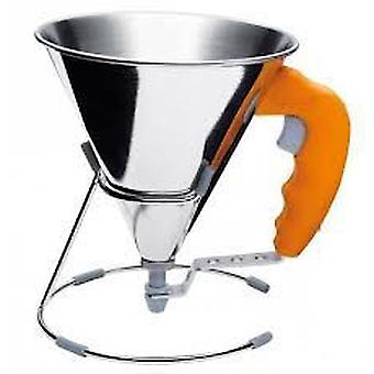 De Buyer Mini-Funnel Dispenser With Piston Inox, 0.8 L, With Support