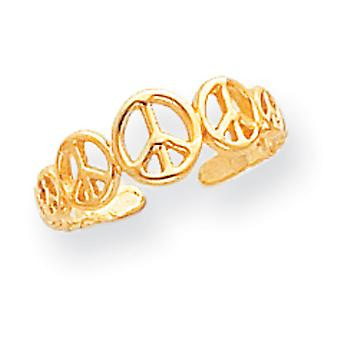 14 k geel gouden gepolijst vredesteken teen Ring -.9 gram