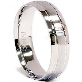Mens 14K White Gold 6mm Brushed Wedding Band Ring New