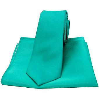 David Van Hagen Satin Thin Tie and Pocket Square Set - Sea Green