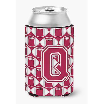 Letter Q Football Crimson, grey and white Can or Bottle Hugger