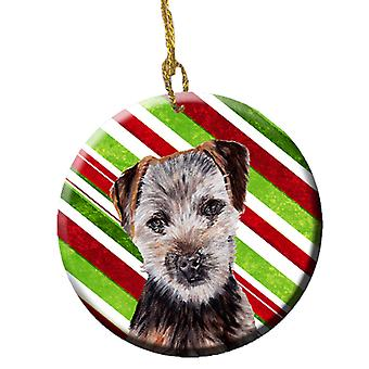 Norfolk Terrier Puppy Candy Cane Christmas Ceramic Ornament