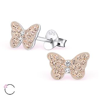 Butterfly crystal from Swarovski® - 925 Sterling Silver Children's Ear Studs