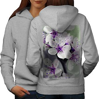 Blanca flor foto naturaleza mujeres GreyHoodie Back | Wellcoda