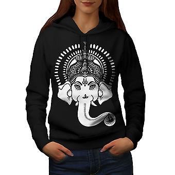Indian Art Ganesha Women BlackHoodie | Wellcoda
