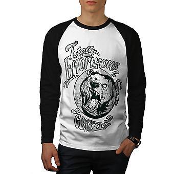 Enormous Grizzly Bear Men White (Black Sleeves)Baseball LS T-shirt   Wellcoda